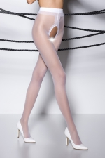 Collants ouverts TI007 - blanc - Collants ouverts en voile blanc 20 deniers.